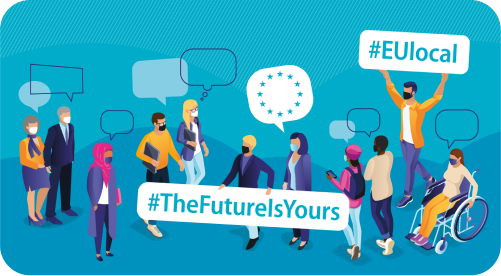 illustration of people meeting together with speech bubbles containing #EUlocal hashtag and #TheFutureIsYours hashtag