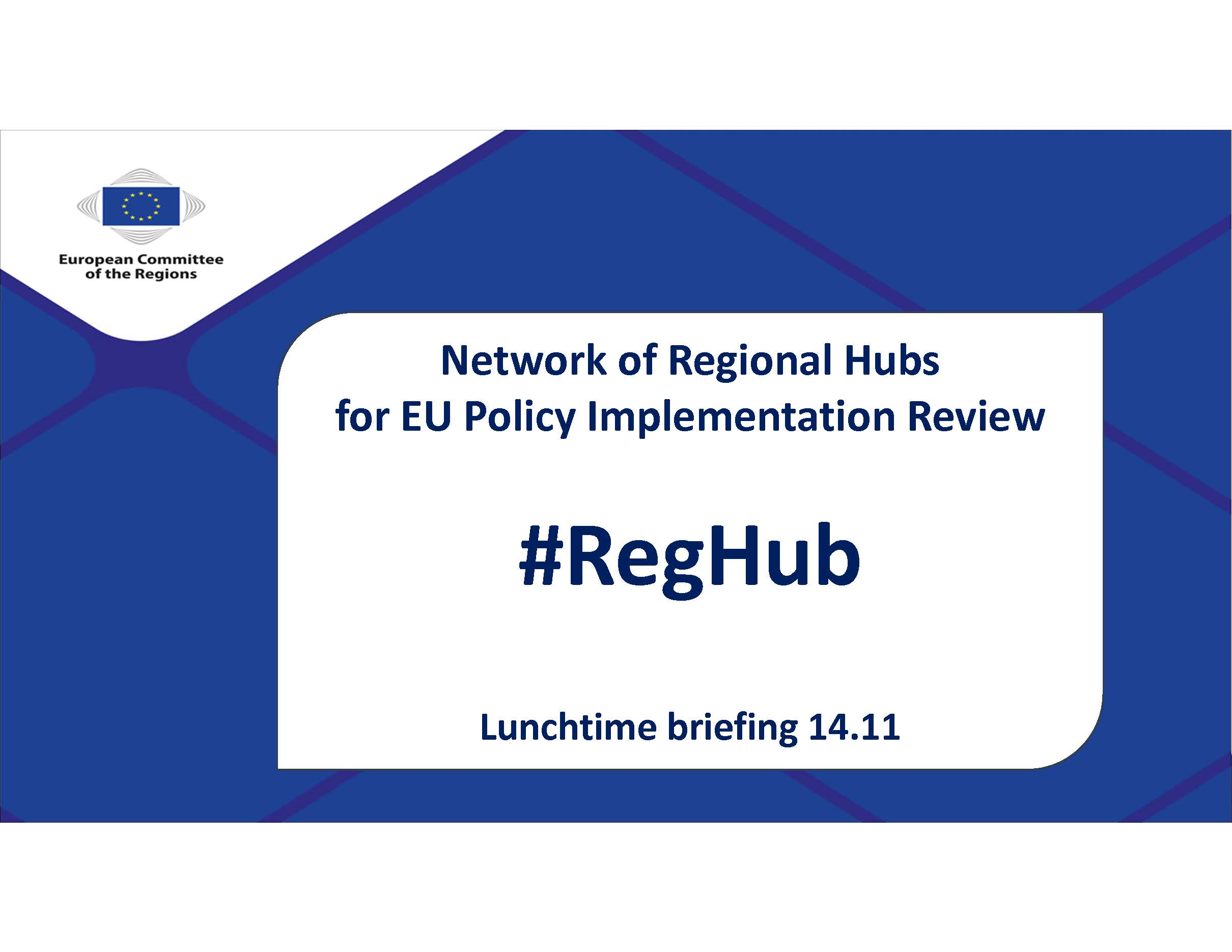 Lunchtime briefing on Network of Regional Hubs (#RegHub)