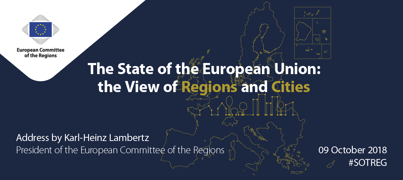 "President Lambertz to deliver ""State of the Union: the View of Regions and Cities"" address, 9 October, 3 pm, Brussels #SOTREG"